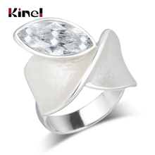 Kinel Unique White Enamel Ring For Women Fashion Crystal Zircon Dubai Silver Party Open Engagement Jewelry 2019 New