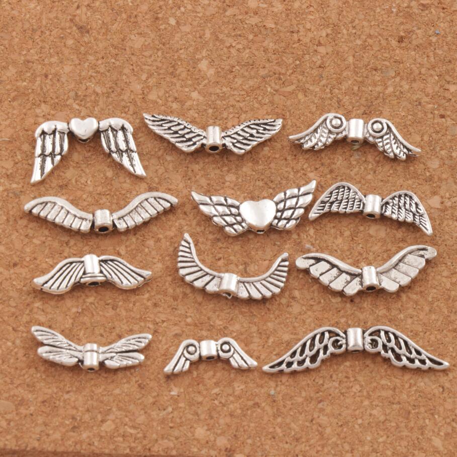 Ассорти украшение Крылья Ангела смешанные 24 шт. старинное серебро разделители для ювелирных изделий DIY сплава свободные шарики LM46