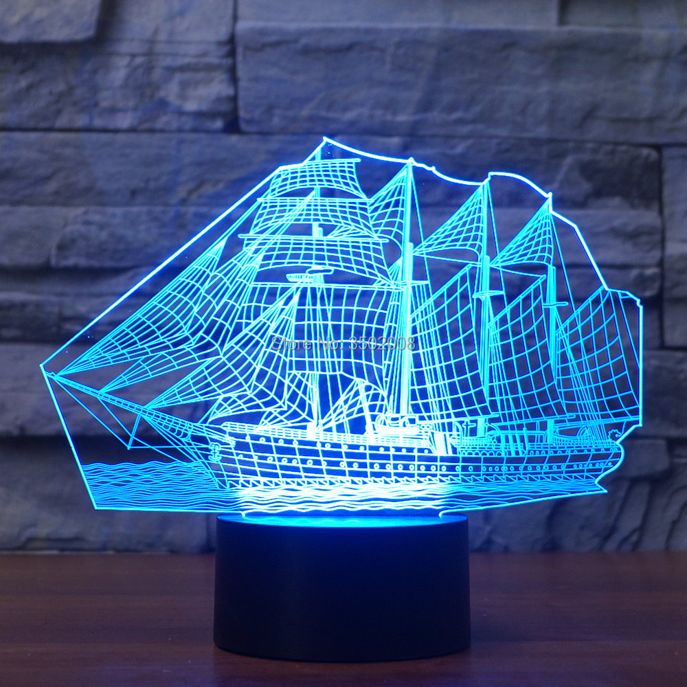 3d Sailboat Design Colorful Night Light 7 Changing Colors Touch Switch USB LED Lamp For Home Hotel Club Decor Or Gift