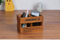 ZAKKA 2016 Vintage Office School Wood Double Lattice Pen Pencil Wooden Stationery Remote Control Storage Box