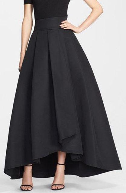 d4791bc9f4be1 Femmes Vintage Stretch taille haute plaine patineuse évasée plissée longue  jupe femmes jupe vêtements