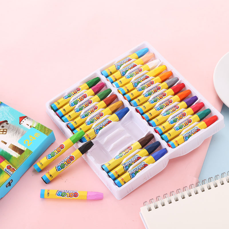лучшая цена Deli 24 colors oil pastel New cute 6963 paints wax crayons colors for kids and children painting school supplies stationery set