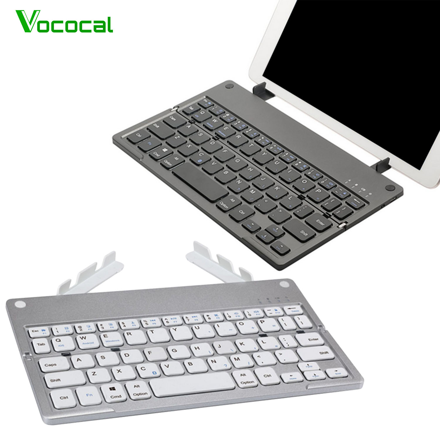 Vococal Foldable Rechargeable Wireless Bluetooth Keyboard