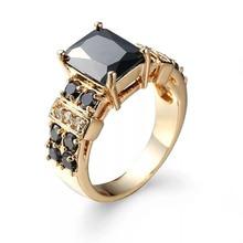 MxGxFam черные CZ кольца для женщин крутые ювелирные изделия 18 k желтое золото-цвет AAA+ циркон