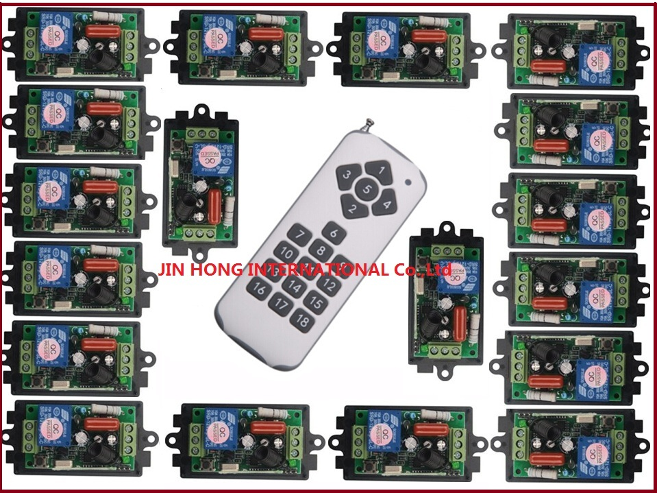 220V 1CH Radio Wireless Remote Control Switch light lamp LED ON OFF 18pc Receivers&1pc transmitter Learning Code Output Adjusted wireless remote control switch 1 2 3ways on off 220v digital distance control switch receiver transmitter for led lamp light