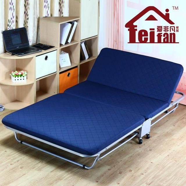 Double Folding Bed Linen Person Siesta Recliner Simple Sponge Beds Temporary Camp 12 15 M