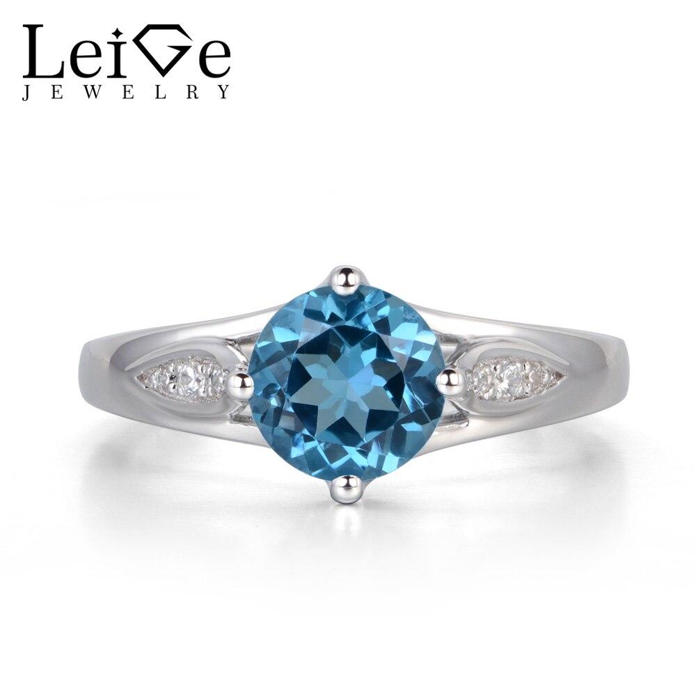 Leige Jewelry Swiss Blue Topaz Ring Blue Gemstone Fine Jewelry Wedding  Engagement Rings For Women Sterling