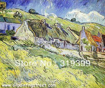 Linen Canvas Oil Painting Reproduction,A Group of Cottage by vincent van gogh,Free DHL Shipping,100%handmade