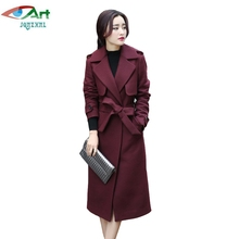 JQNZHNL 2017 New Winter Woolen Coats Women Slim Double Wool Jacket Overcoats Turn Down Collar Temperament Wool Blends Coats E918