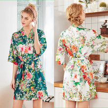 Top Luxury Silk Satin Wedding Bride Robe Floral Bathrobe Short Kimono Robe Night Robe Bath Robe Fashion Dressing Gown For Women
