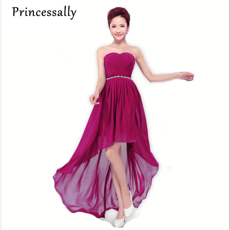 Cheap chiffon bridesmaid dress under 50 high low crystal for High low wedding dresses cheap