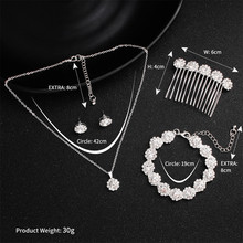 Fashion bridal jewelry sets wedding necklace bracelet earring hair comb hair jewellery sets for women цены онлайн