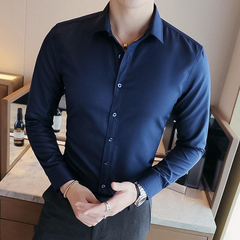 2018 Herren Business Casual Langärmeliges Hemd Hochwertige Male Social Dress Shirt Schwarz Blau Weiß