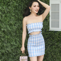 2018 Summer French Vintage Seersucker Chest Wrap and Pencil Skirt 2 Pieces Blue Plaid Pleated Type Slim High Rise