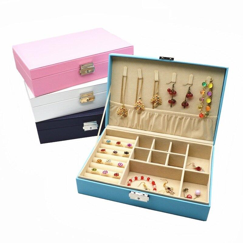 New 1Pcs PU Leather Watch Jewelry Box Casket for Decoration Jewelry Display Large Capacity Storage Box Travel Makeup Box