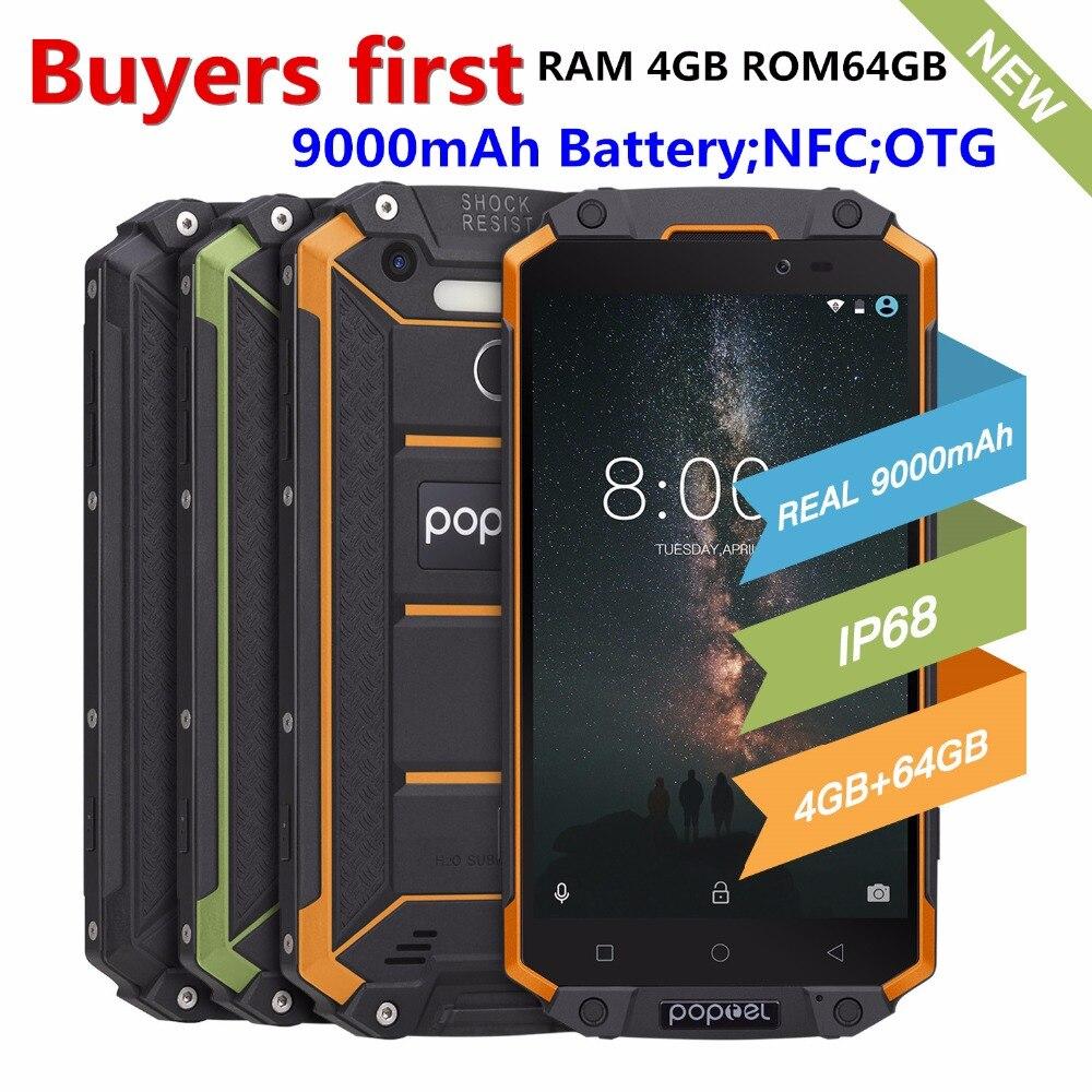 POPTEL P9000 MAX Mobile Téléphone MTK6750 Octa Core RAM 4 gb ROM 64 gb Android 7.0 IP68 Étanche 5.5 13.0MP 9000 mah 4g Smartphone