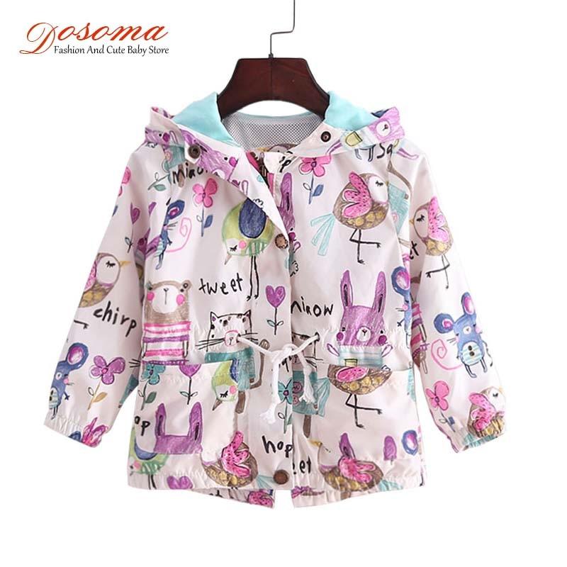 DOSOMA 2017 New Spring Baby Coat And Jacket For Girl Cartoon Graffiti Hooded Windbreaker For Girls Full Sleeve Toddler Outerwear