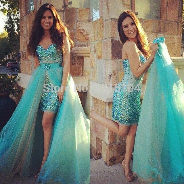 2017 High Low Rhinestones Jade Evening Dresses With Detachable Train ...