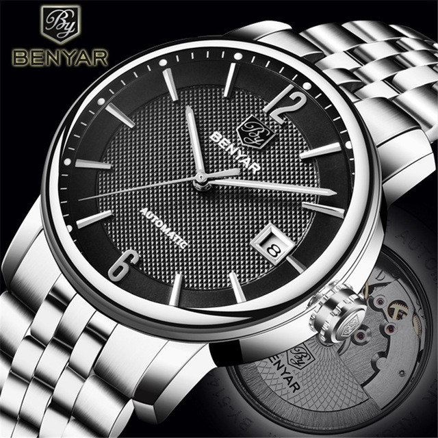 BENYAR Top Brand New Business Mens Automatic Mechanical Watches Waterproof Stainless Steel Luxury Men Watch Relogio MasculinoBENYAR Top Brand New Business Mens Automatic Mechanical Watches Waterproof Stainless Steel Luxury Men Watch Relogio Masculino