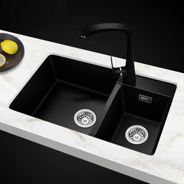 Online Shop 760*460*200mm Quartz stone kitchen sinks double bowl ...