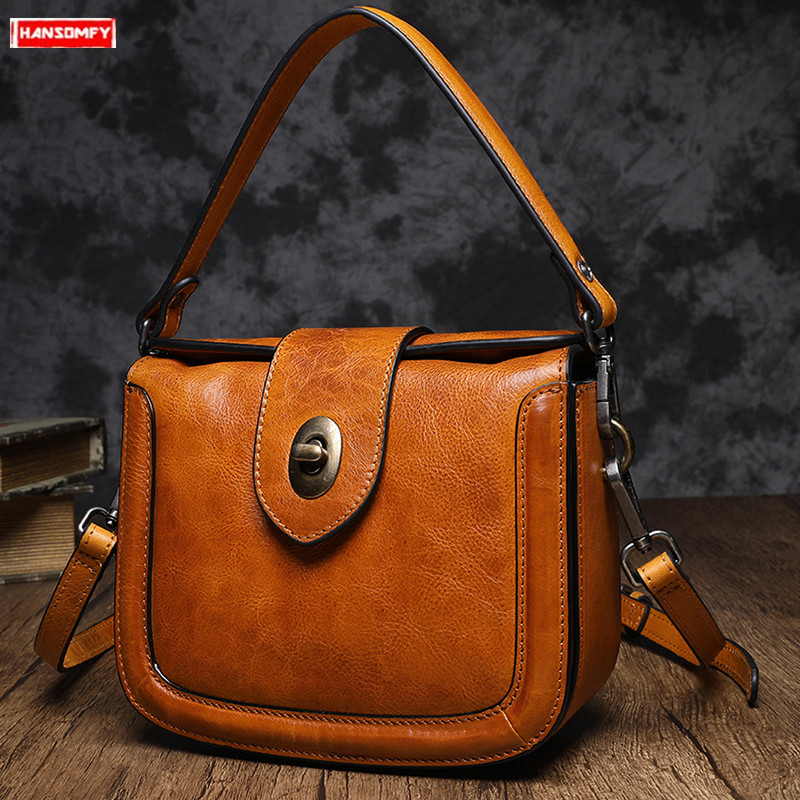 2019 new cowhide women handbag retro handmade shoulder bag female portable messenger bag wild casual saddle bag2019 new cowhide women handbag retro handmade shoulder bag female portable messenger bag wild casual saddle bag