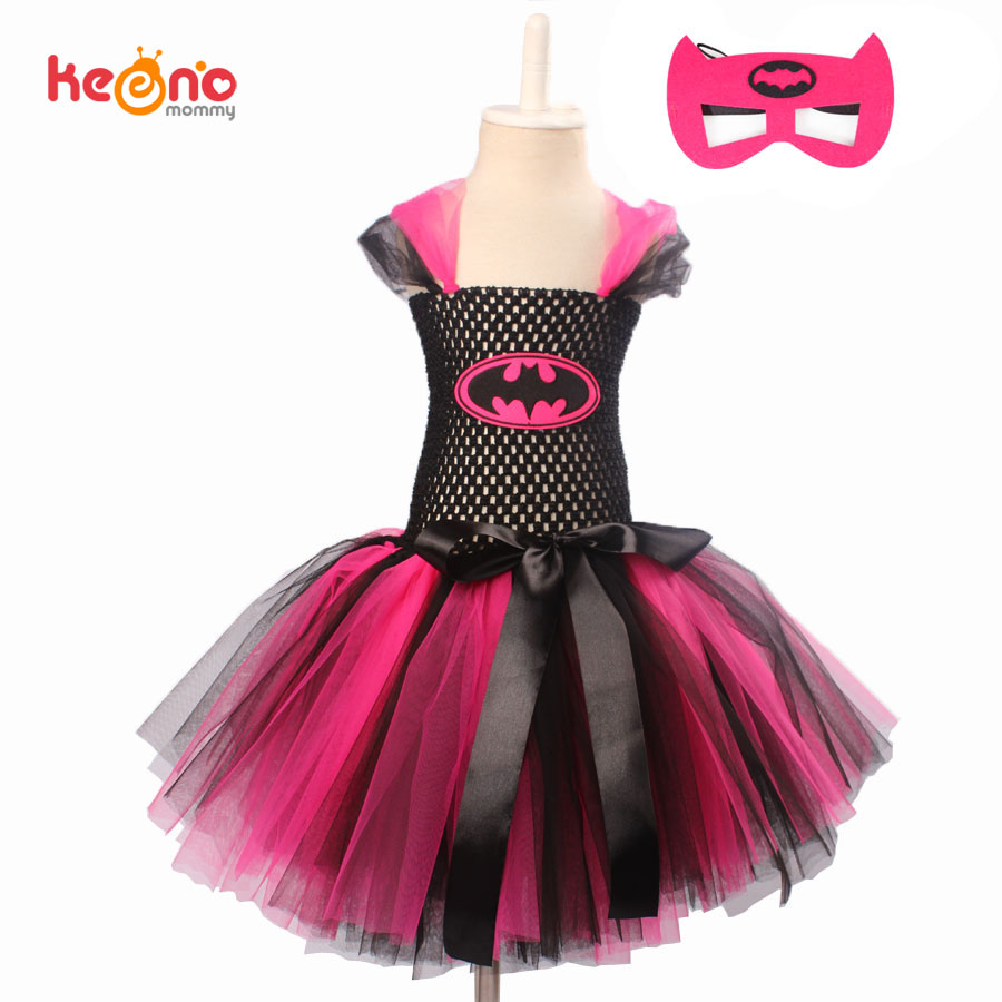 Keenomommy Super Cute Super Hero Tutu Costume Hot Pink Batgirl Girls Tutu Dress with Mask for Cosplay Party Halloween