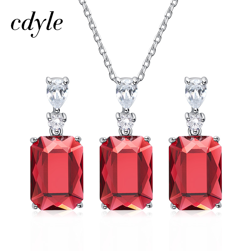 Cdyle Natural 925 Silver Jewelry For Women Embellished with crystals from Swarovski Earrings Pendant Necklace Mothers
