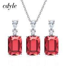 b7905d705c5f Cdyle Natural joyería de plata 925 rojo azul Verde cristales de Swarovski  para mujeres pendientes colgante Collar regalos de nav.