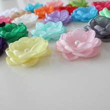 4cm Boutique Burn fabric flower Layered Poppy flower For Girl Kids Headband Hair Accessories Singed Flower 30pcs