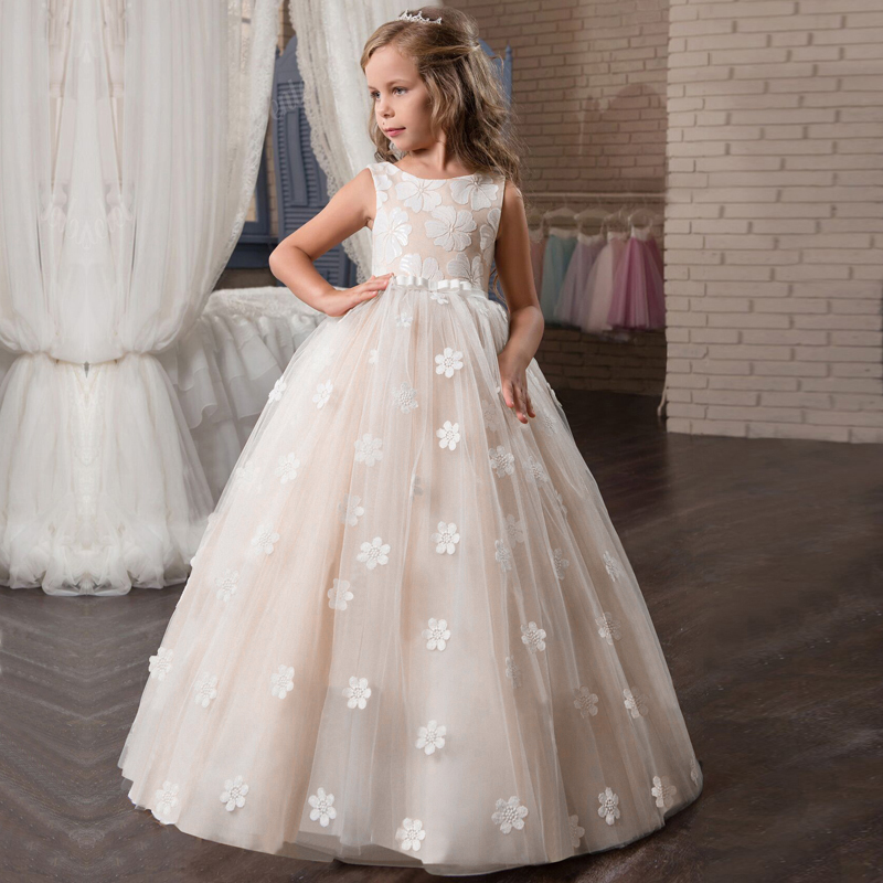 Flower     Girls     Dress   for Wedding Teenage Children Princess Party Long Graduation Gown Baby Kids   Dresses   for   Girl   Summer Clothes