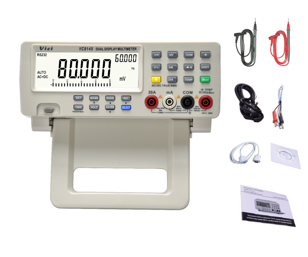 US $146 9 30% OFF|VC8145 4 7/8 Bench top Multimeter 1000V 20A 80000 Counts  Digital Multimeter tester Auto Range Multimetro Digital Voltmeter Ohm-in
