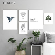 Nordic Style Poster Minimalist Art Canvas Painting Bird Leaf Black and White Prints Wall Art Decoration Painting for Living Room(China)