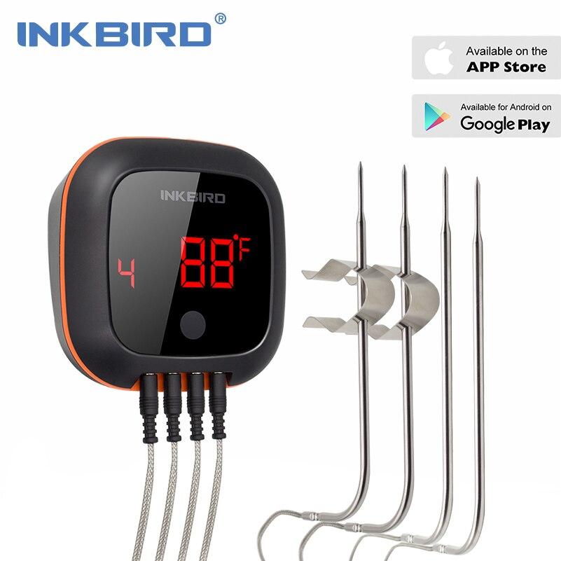 Inkbird IBT-4XS Digitale Senza Fili di Bluetooth Forno di Cottura di Barbecue Grigliate Termometro Con Due/Quattro Sonda e USB batteria ricaricabile