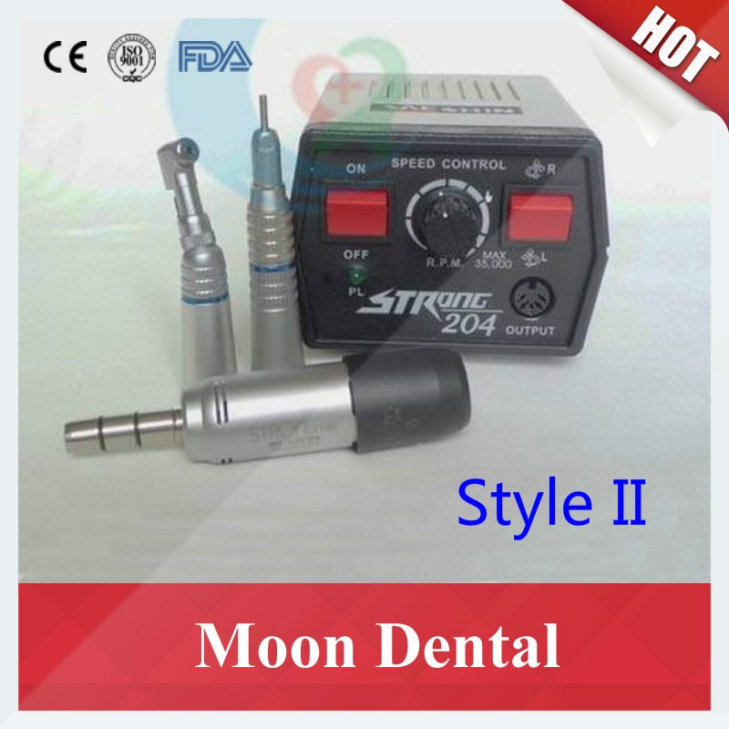Strong 204 mocromotor+108E+straight contra angle handpiece 2