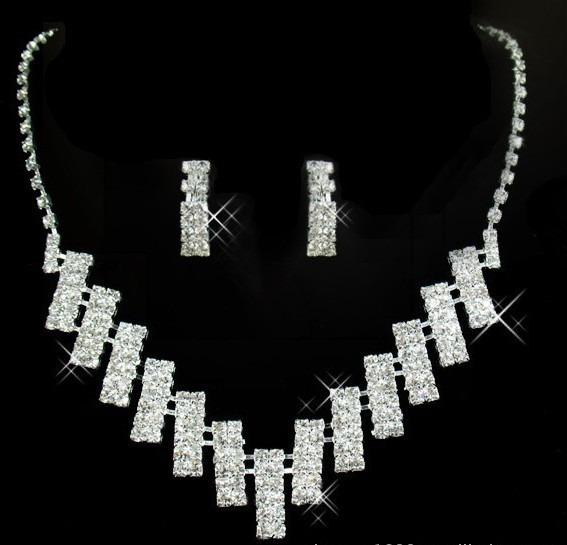 ladies'  Silver Wedding Nacklace &Earring  Bridal Jewelry Set