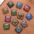 25x25mm Mixed Style Cartoo Girl Square Glass Cabochon Dome Jewelry Finding Cameo Pendant Settings 20pcs/lot K04765