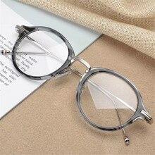 Yüksek kaliteli yuvarlak Asetat ve Alaşım Tapınak gözlük çerçevesi erkekler ve kadınlar için TB908 gözlük miyopi okuma gözlük Oculos
