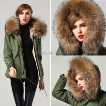 free shipping raccoon brown real fur big collar Mrs Mr fur parka, factory supplier wholesale price winter coats
