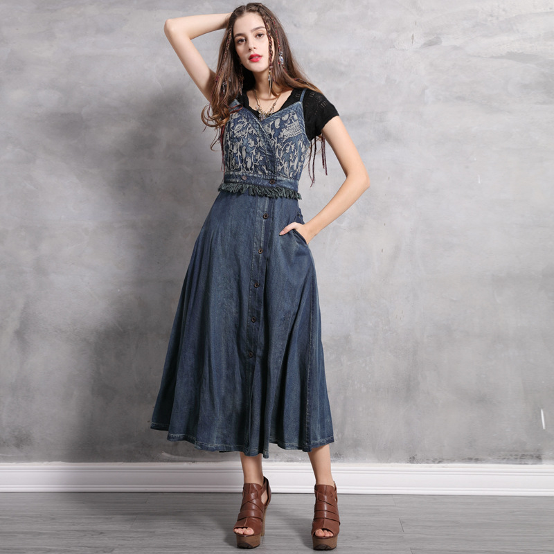 SOONNIX Printemps 2019 nouveau brodé denim robe rétro taille de coupe avec le gland robe