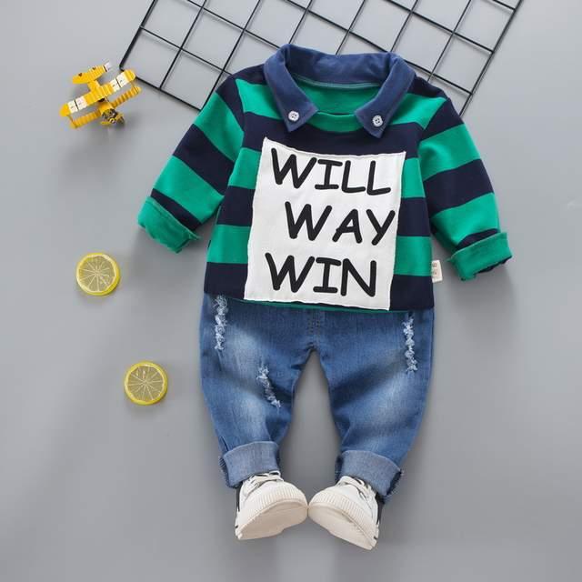 d4bbe499d4cc Online Shop 2PCS Baby Boys Clothing Set Striped Polo Shirt Jeans ...