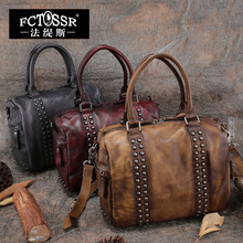 2017 Vintage Handmade Genuine Leather Top Handle Bag Cow Leather Shoulder Bag Rivets Messenger Bag Women Handbag