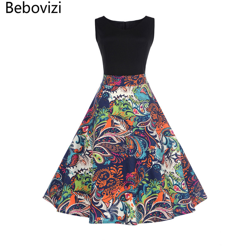 Bebovizi European Size Women for <font><b>Dress</b></font> Retro <font><b>Vintage</b></font> <font><b>1950s</b></font> <font><b>60s</b></font> Rockabilly Floral Swing <font><b>Dresses</b></font> Elegant Tunic Vestidos De Fiesta image