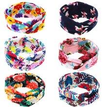 New Fashion headwear accessory headband for newborn spandex cotton floral print bandana multicolors hair band girl 6 colors