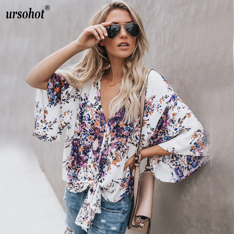 Ursohot Floral Print Summer Chiffon Blouse Shirts Women 2018 Casual Loose Style V Neck Flare Sleeve Streetwear Bow Blusas Tops