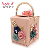 Natassie Brand Women Flower Wedding Party Clutch Purse Ladies Evening Bag Royal Blue Day Clutches With