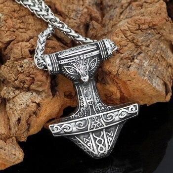 Viking Thor Hammer Mjolnir Rune Amulet Pendant Necklace  Viking Necklace