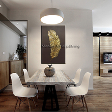 Artist Hand-painted Abstract golden feather Oil Painting High Quality on Canvas for Living Room Decoration
