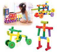 72 PCs Children Water Pipe Plug Match Building Blocks Colorful Self Locking Bricks Tunnel Plastic Blocks