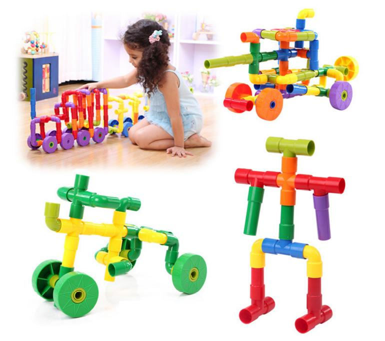 72 PCs Children water pipe plug match building blocks/colorful self locking bricks Tunnel plastic blocks Kids educational toys black pearl building blocks kaizi ky87010 pirates of the caribbean ship self locking bricks assembling toys 1184pcs set gift