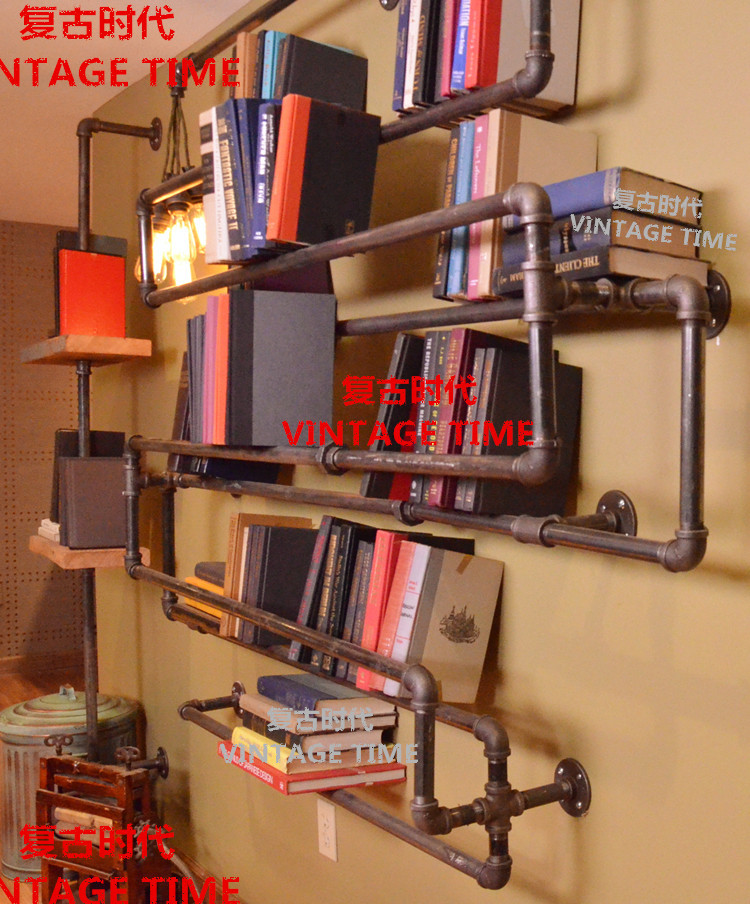 American Retro Vintage Industrial Style Plumbing Pipe Racks Bookcase  Bookshelf Creative Personality-in Luggage Racks From Furniture On  Aliexpress